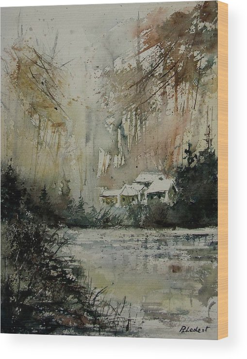 Landscape Wood Print featuring the painting Watercolor 070608 by Pol Ledent
