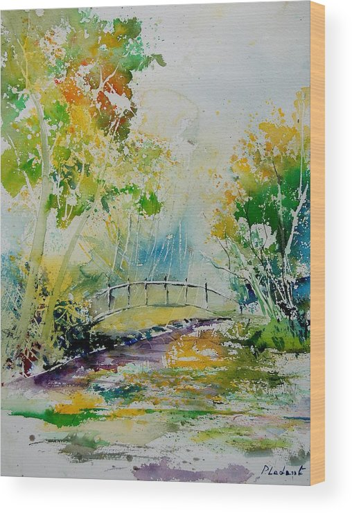 Water Wood Print featuring the painting Watercolor 908020 by Pol Ledent