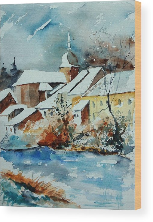 Landscape Wood Print featuring the painting Watercolor Chassepierre by Pol Ledent