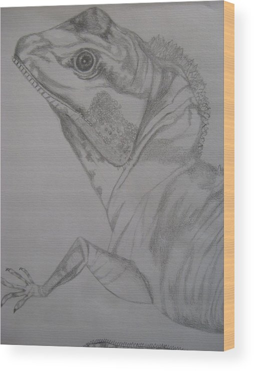 Dragon Wood Print featuring the drawing Waterdragon Vertical Close Up by Theodora Dimitrijevic