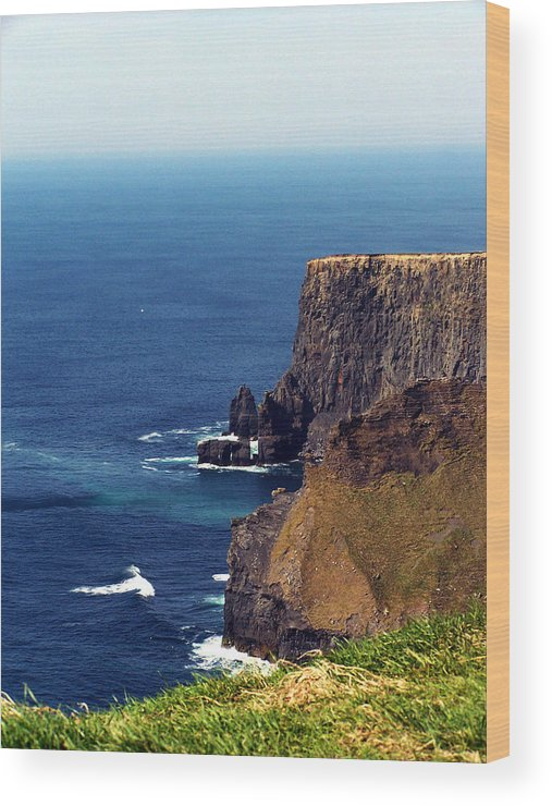 Irish Wood Print featuring the photograph Waves Crashing At Cliffs Of Moher Ireland by Teresa Mucha