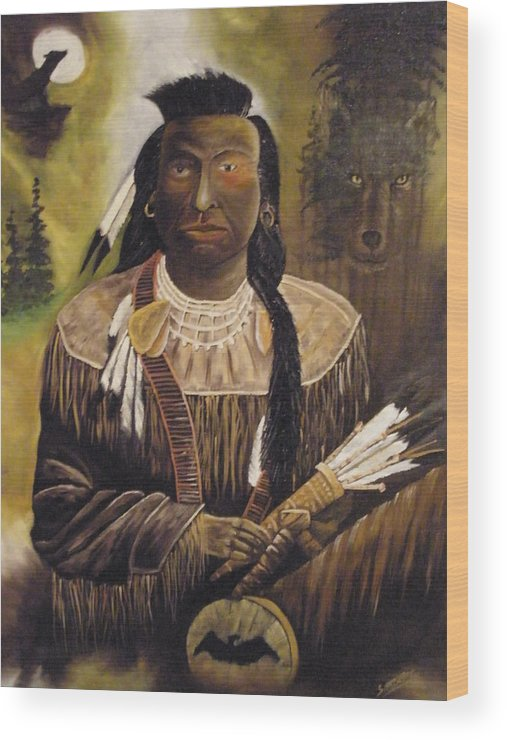 Indian Wood Print featuring the painting Wedding Gift by Ron Sargent