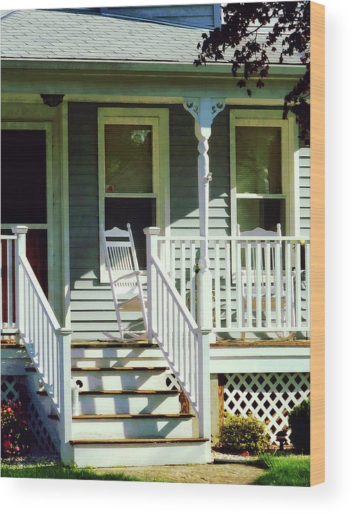 Porch Wood Print featuring the photograph White Rocking Chairs by Susan Savad