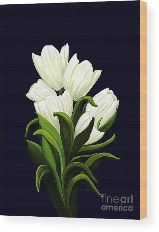 Mixed Media Wood Print featuring the painting White Tulips by Patricia Griffin Brett
