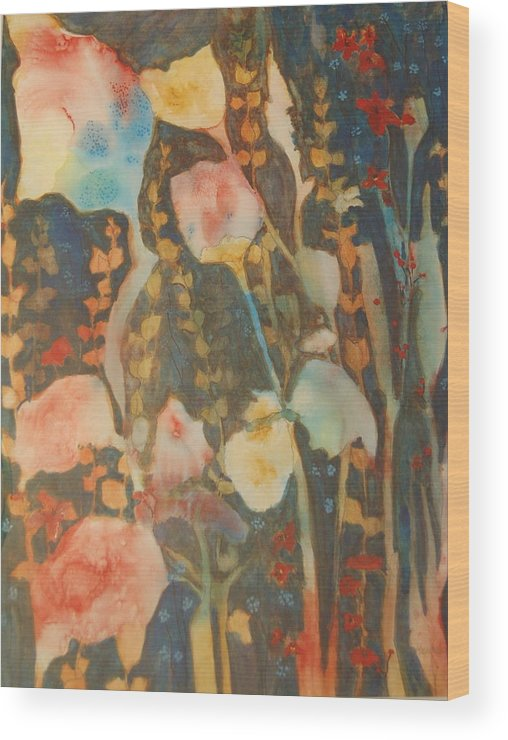 Flower Abstract Wood Print featuring the painting wild flowers in the wind I by Henny Dagenais