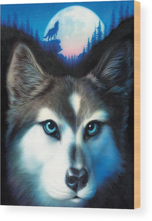 Wolf Wood Print featuring the photograph Wild One by MGL Meiklejohn Graphics Licensing