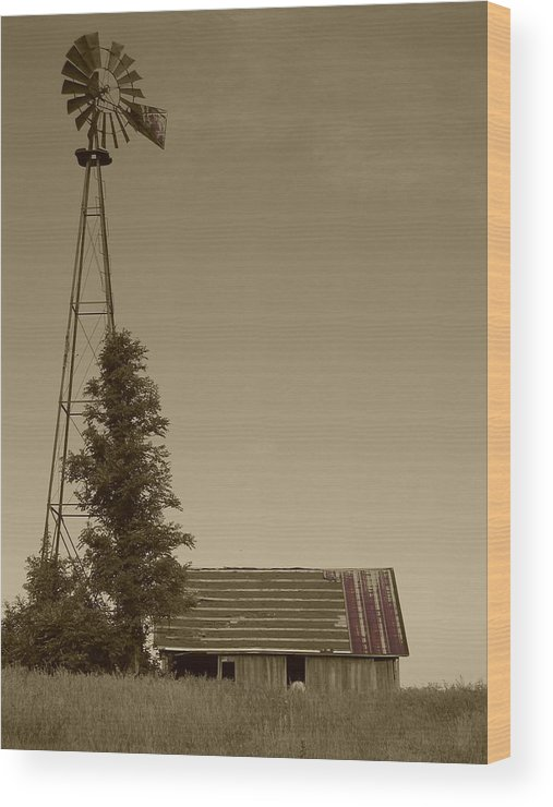 Landscape Wood Print featuring the photograph Windmill II by Dylan Punke