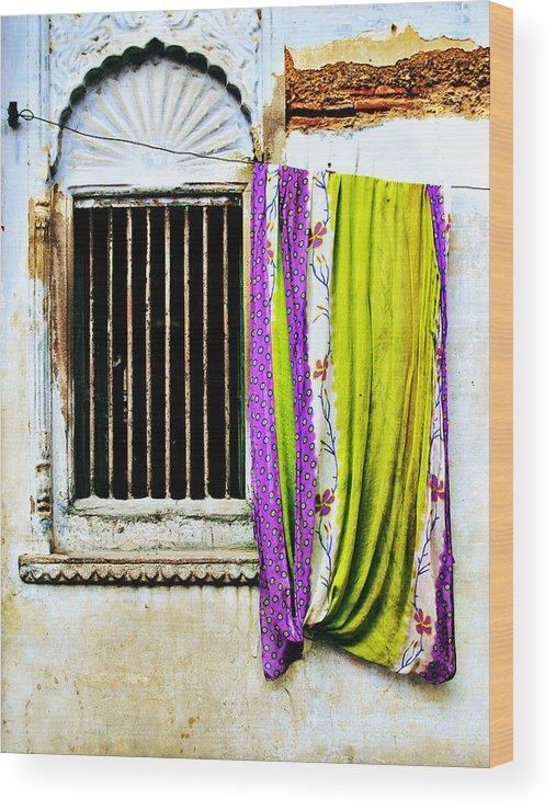 Window Wood Print featuring the photograph Window And Sari by Derek Selander