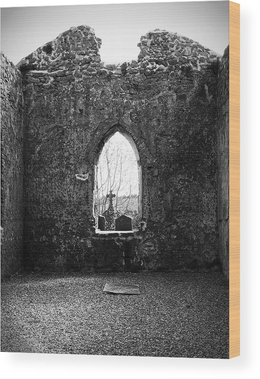 Ireland Wood Print featuring the photograph Window At Fuerty Church Roscommon Ireland by Teresa Mucha