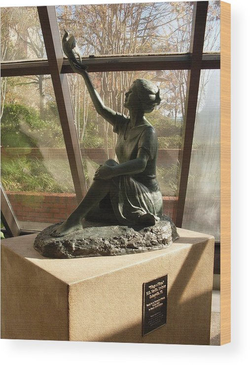 Sculpture Wood Print featuring the photograph Wings Of Hope And Shadows by Warren Thompson