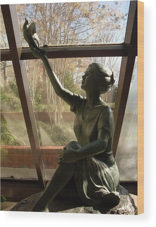 Sculpture Wood Print featuring the photograph Wings Of Hope by Warren Thompson