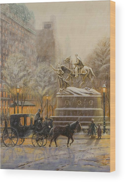 Winter Painting Wood Print featuring the painting Winter Twilight At Grand Army Plaza by Christopher Oakley