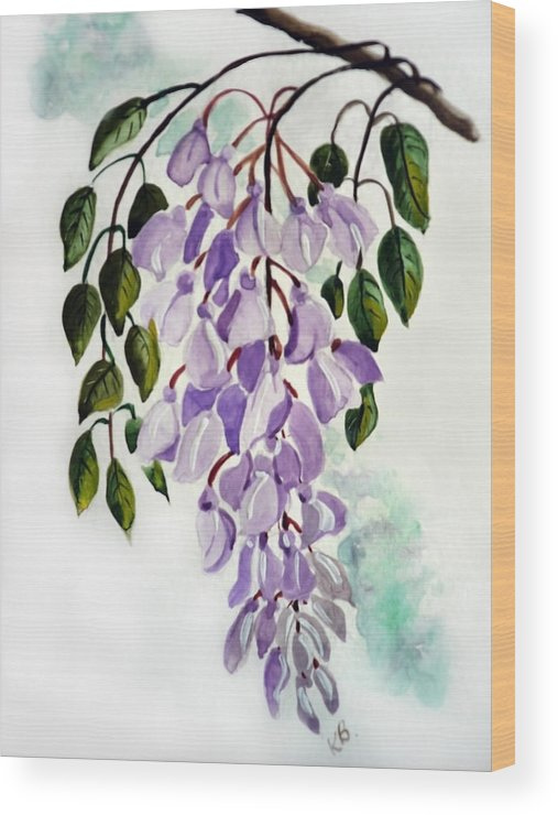 Floral Paintings Flower Paintings Wisteria Paintings Botanical Paintings Flower Purple Paintings Greeting Card Paintings  Wood Print featuring the painting Wisteria by Karin Dawn Kelshall- Best