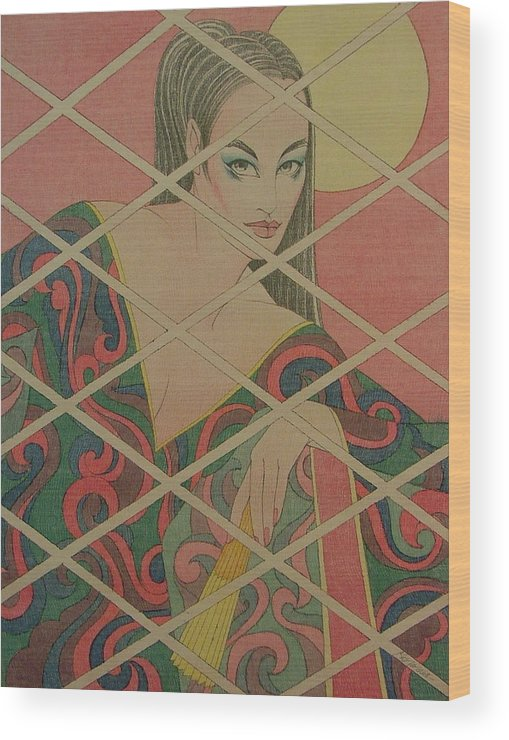 Female Wood Print featuring the painting Woman And The Moon by Gary Kaemmer