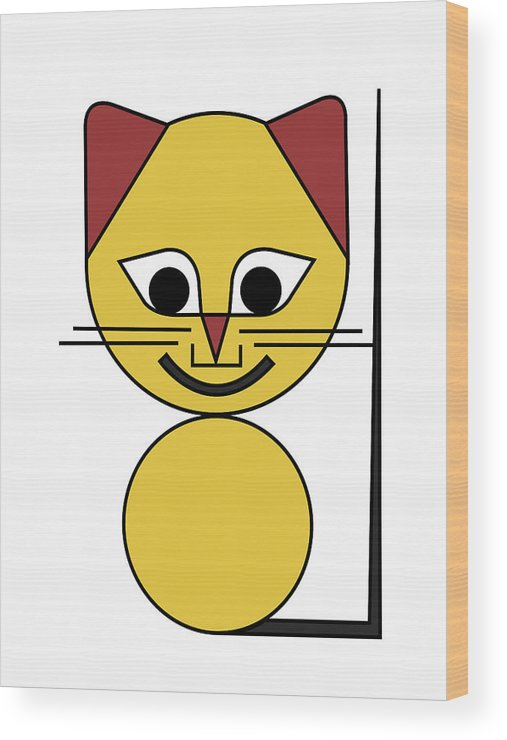 Cat Wood Print featuring the digital art Yellow Cat by Asbjorn Lonvig