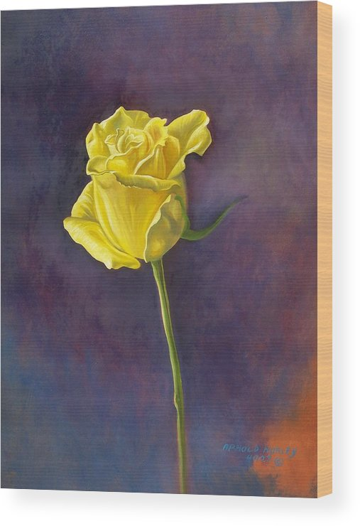 Floral Wood Print featuring the painting Yellow Rose by Arnold Hurley