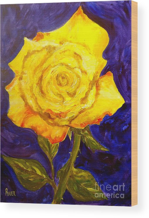 Rose Wood Print featuring the painting Yellow Rose by Pete Maier