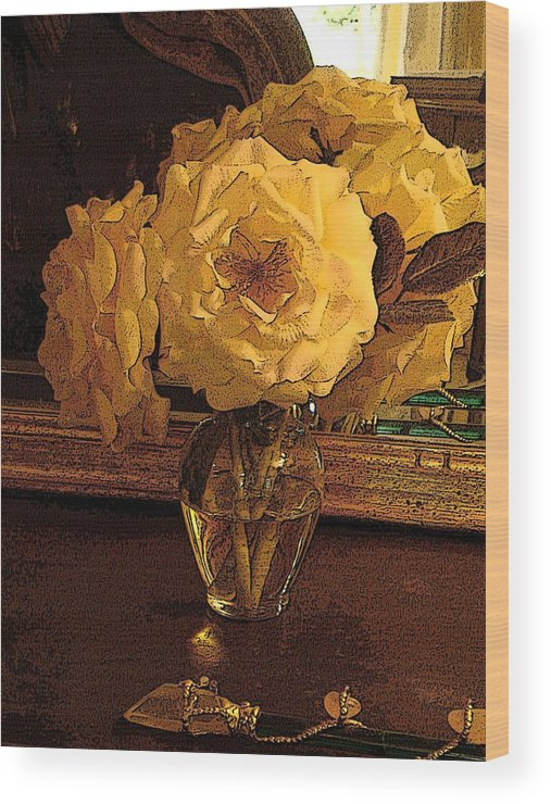 Photograph Wood Print featuring the photograph Yellow Roses by Susan Grissom
