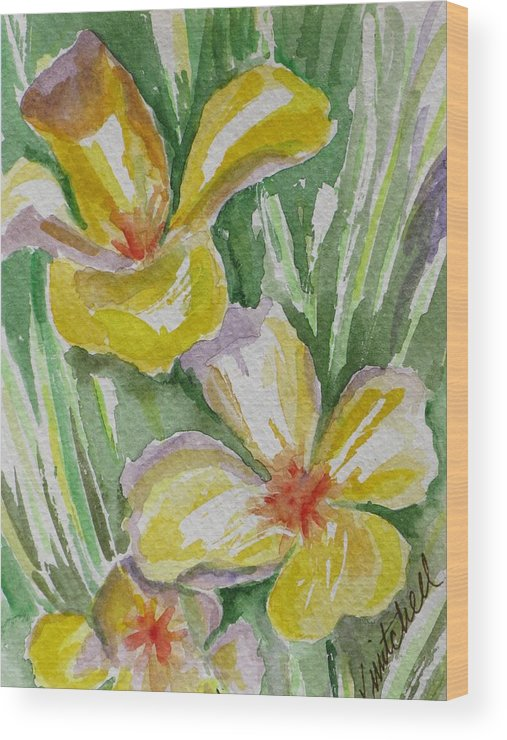 Floral Wood Print featuring the painting Yellow Wild Flowers II by Kathy Mitchell