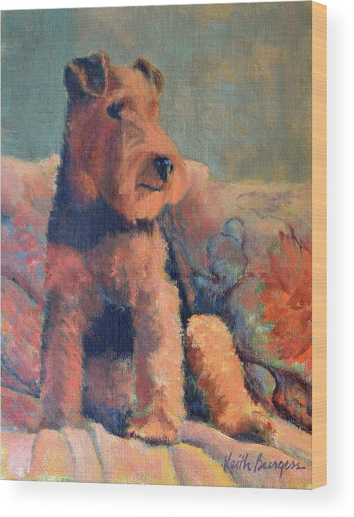 Pet Wood Print featuring the painting Zuzu by Keith Burgess