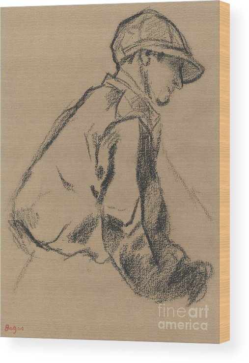 Degas Wood Print featuring the drawing Study Of A Jockey by Edgar Degas