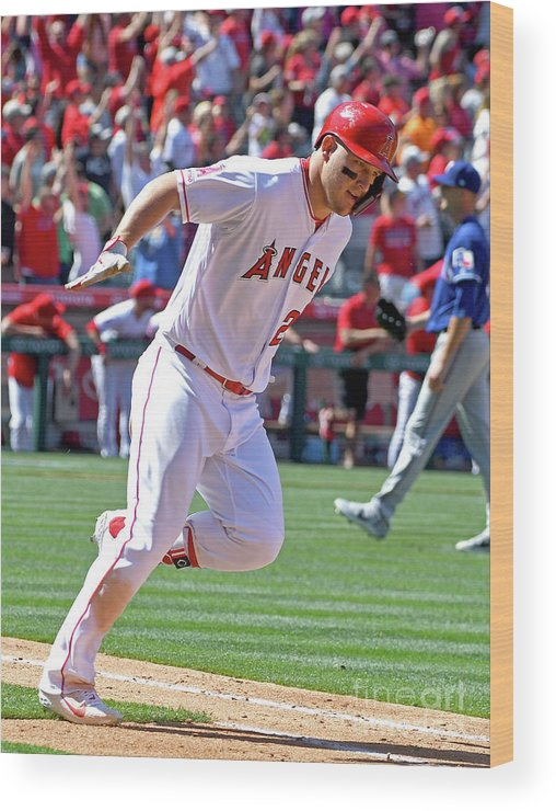 People Wood Print featuring the photograph Texas Rangers V Los Angeles Angels Of 4 by Jayne Kamin-oncea