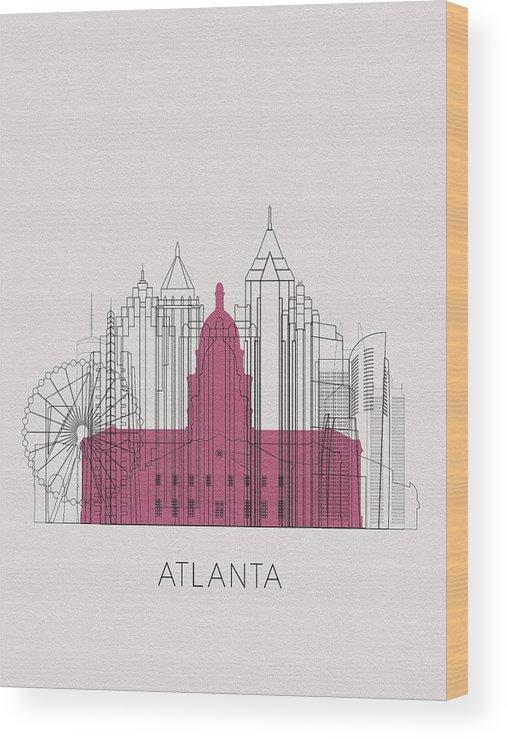 Atlanta Wood Print featuring the digital art Atlanta Landmarks by Inspirowl Design