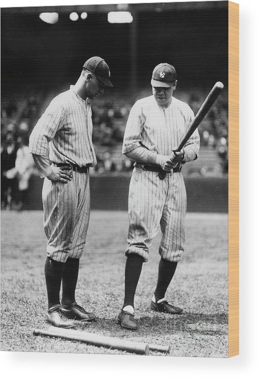 American League Baseball Wood Print featuring the photograph Babe Ruth Lou Gehrig 1923 by Transcendental Graphics
