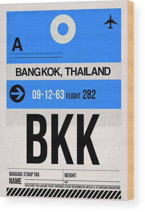 Vacation Wood Print featuring the digital art Bkk Bangkok Luggage Tag II by Naxart Studio