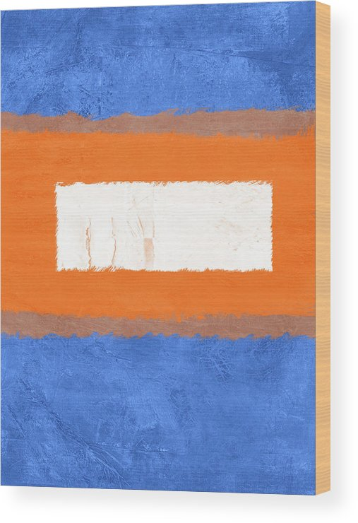 Abstract Wood Print featuring the painting Blue And Orange Abstract Theme I by Naxart Studio