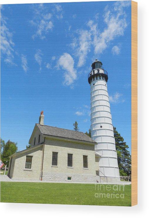 Cana Island Wood Print featuring the photograph Cana Island Lighthouse Blue Sky by Snapshot Studio