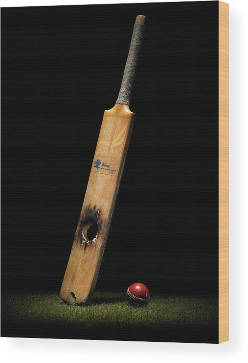Team Sport Wood Print featuring the photograph Cricket Bat With Hole And Ball by Phil Ashley