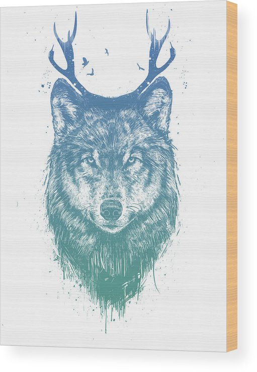 Wolf Wood Print featuring the mixed media Deer Wolf by Balazs Solti
