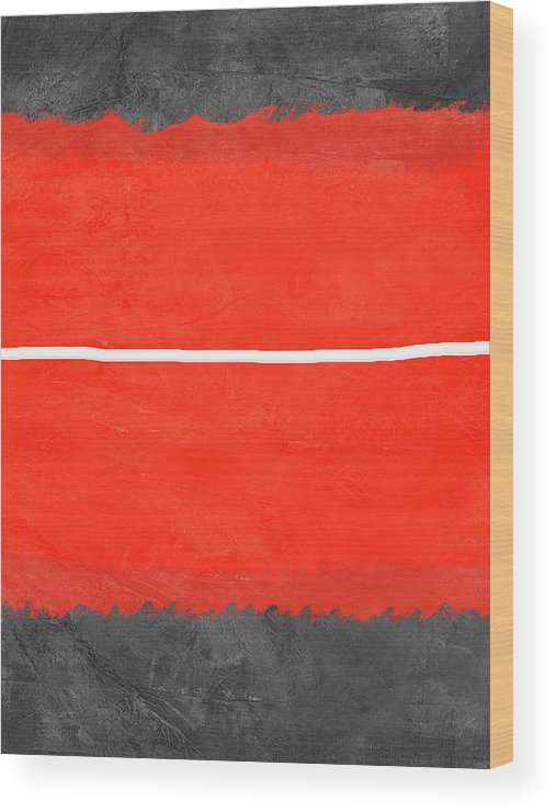 Abstract Wood Print featuring the painting Grey And Red Abstract II by Naxart Studio