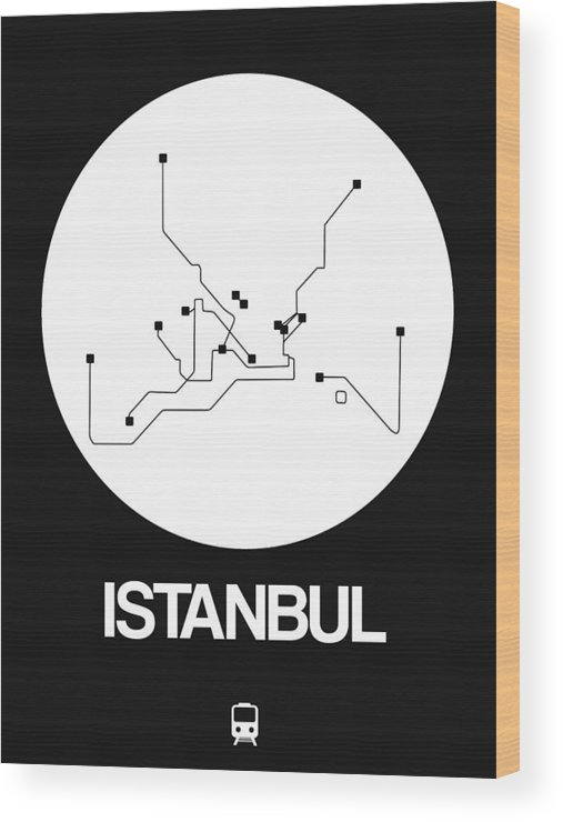 Istanbul Wood Print featuring the digital art Istanbul White Subway Map by Naxart Studio