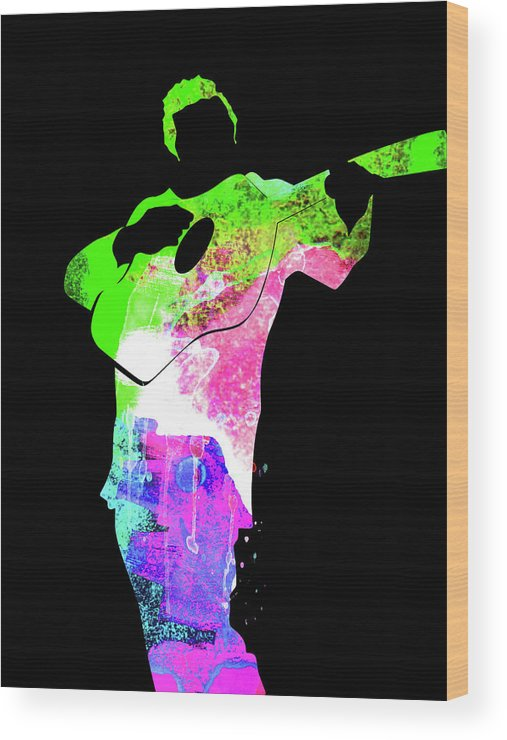Johnny Cash Wood Print featuring the mixed media Johnny Watercolor II by Naxart Studio