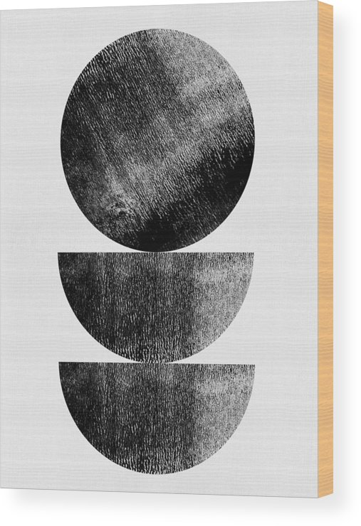 Black And White Wood Print featuring the mixed media Mid Century Circle And Half Circles by Naxart Studio