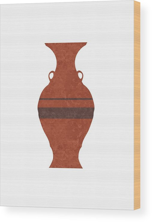 Abstract Wood Print featuring the mixed media Minimal Abstract Greek Vase 11 - Hydria - Terracotta Series - Modern, Contemporary Print - Brown by Studio Grafiikka