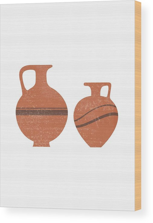Abstract Wood Print featuring the mixed media Minimal Abstract Greek Vase 20 - Oinochoe - Terracotta Series - Modern, Contemporary Print - Sienna by Studio Grafiikka