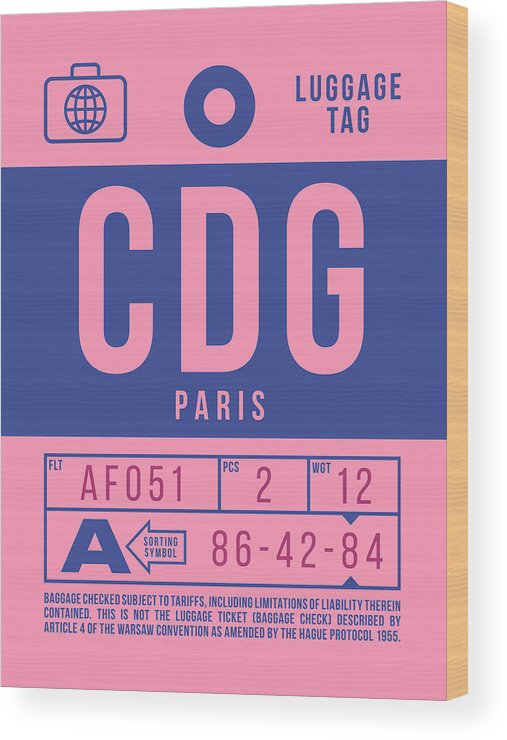Airline Wood Print featuring the digital art Retro Airline Luggage Tag 2.0 - Cdg Paris Charles De Gaulle France by Ivan Krpan