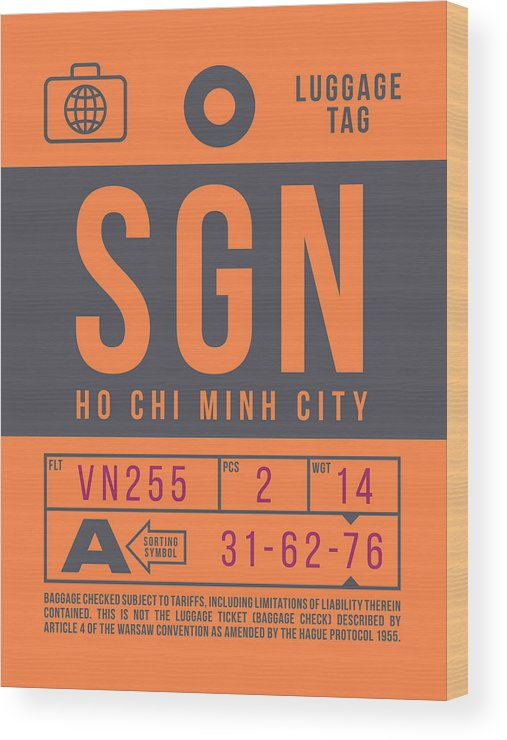 Airline Wood Print featuring the digital art Retro Airline Luggage Tag 2.0 - Sgn Ho Chi Minh City International Airport Vietnam by Organic Synthesis