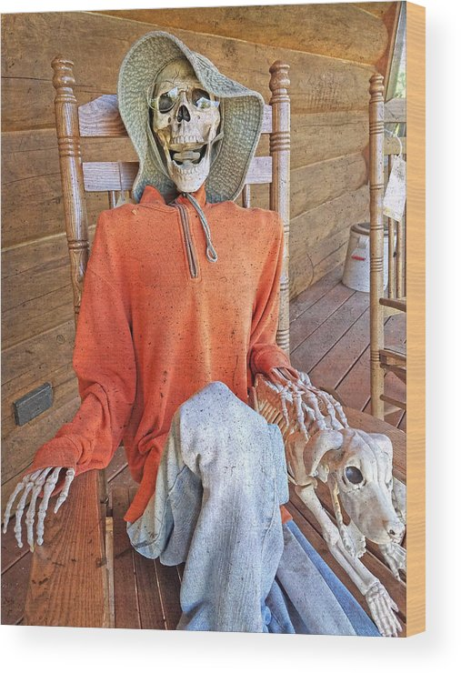 Skeleton Wood Print featuring the photograph The Greeter by Betsy Knapp