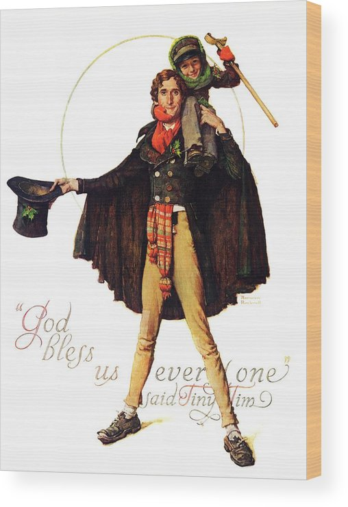 Christmas Carol Wood Print featuring the drawing Tiny Tim by Norman Rockwell