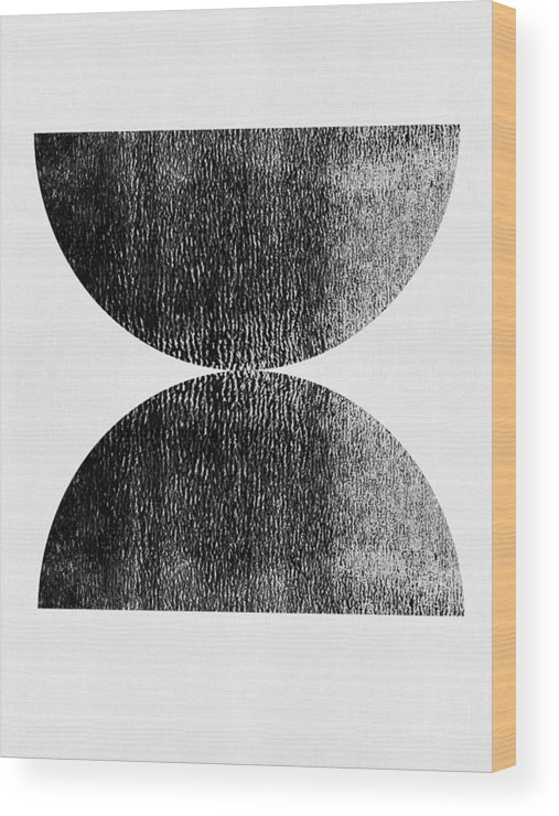 Black And White Wood Print featuring the mixed media Two Mid Century Half Moons by Naxart Studio