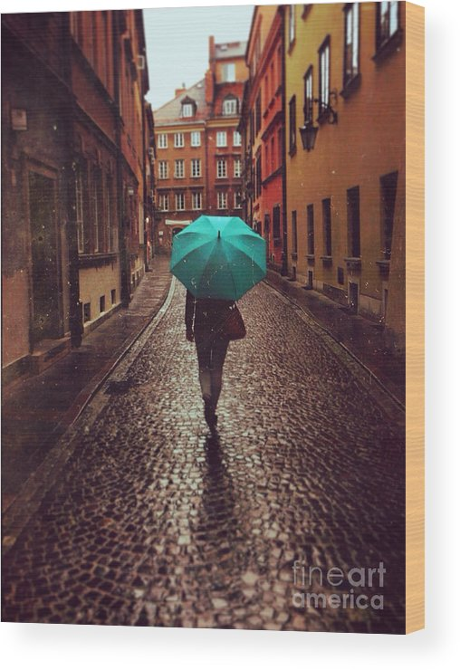 Couple Wood Print featuring the photograph Woman With Umbrella Walking On The Rain by Happy Moments