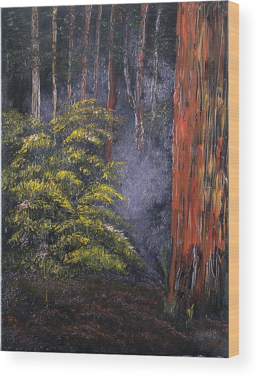 Landscape Wood Print featuring the painting Fairies by Helene Lagoudakis