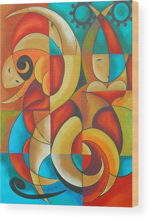Abstract Expressionism Wood Print featuring the painting Floutine With Rhythm by Marta Giraldo