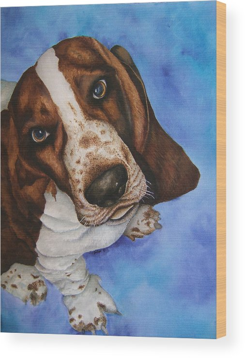 Basset Hound Dog Puppy Wood Print featuring the painting Otis The Basset Hound by JoLyn Holladay