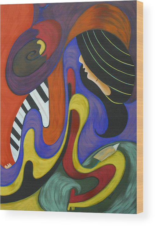 Abstract Expressionism Wood Print featuring the painting Reading With Music by Marta Giraldo