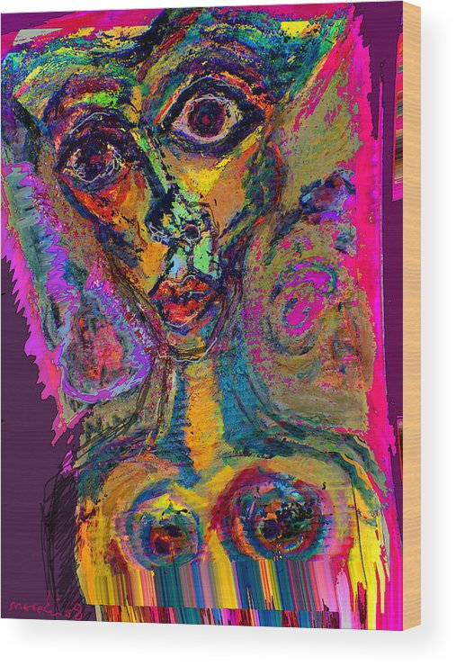 Mask Wood Print featuring the painting Vodoo by Noredin Morgan